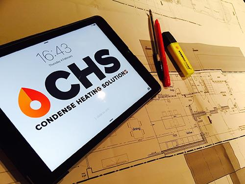 CHS - Condense Heating Solutions display on a tablet device